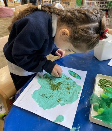Peregrines Nursery painting for St Patrick's Day