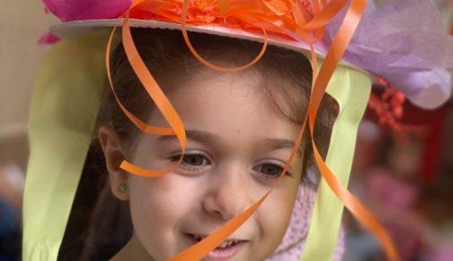 Nursery girl in Easter bonnet