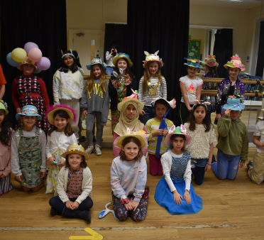 Easter bonnets worn by pupils