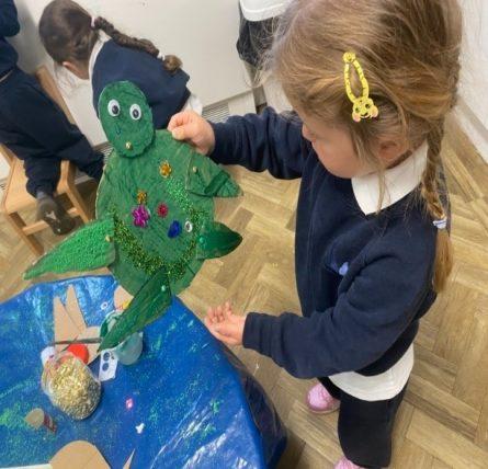 Recycled Cardboard Turtles in Nursery