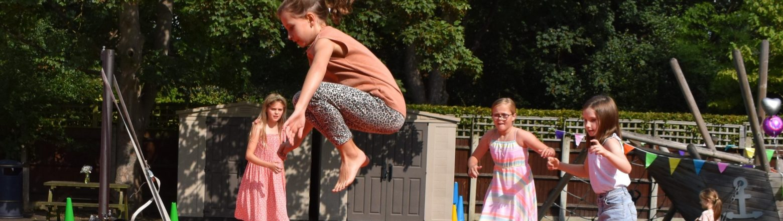 Girls play 'Last Man Standing' at the Falcons PFA Fair